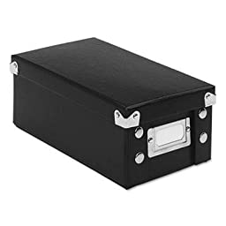Snap-N-Store SNAP \'N STORE COLLAPSIBLE INDEX CARD FILE BOX HOLDS 1,100 3 X 5 CARDS, BLACK, 4 CT