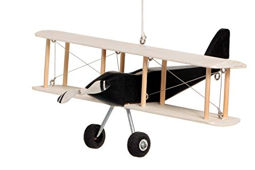(Hanging Airplane For Children Kid Room Nursery Fly Vintage Decor White Black Wooden 5'')
