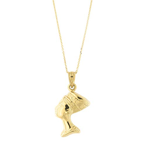 14k Yellow Gold Nefertiti Egyptian Queen Pendant Necklace with Cable Chain, 14 Inches ()