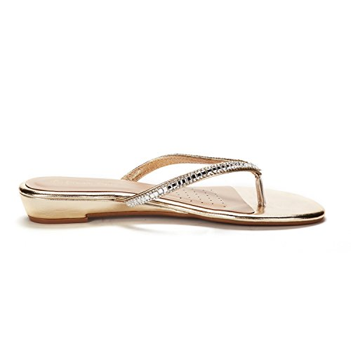 DREAM Women's Sandals gold Flop Jewel PAIRS 03 Flip OCwxqa4O