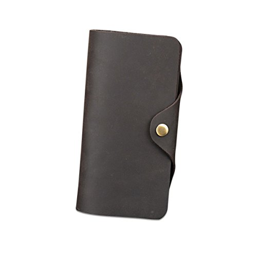Snap Long Wallet - LUUFAN Men's Vintage Genuine Leather Snap Long Wallet With Coin Pocket