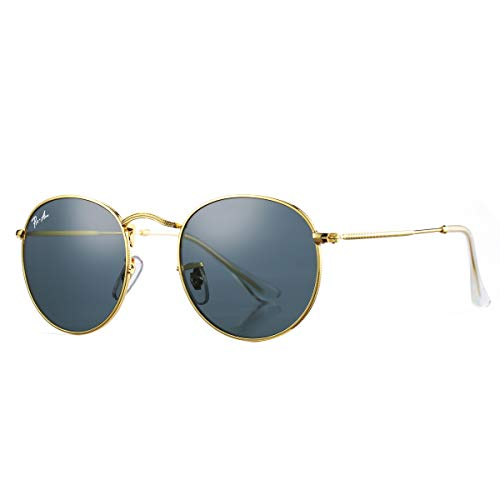 Pro Acme PA3447 Classic Crystal Glass Les Retro Round Metal Sunglasses,50mm (Crystal Grey Lens)