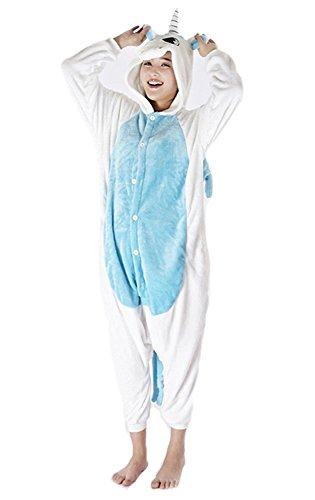 SENSERISE Adult Animal Onesie Pajamas Halloween Costumes Cosplay Warm Sleepwear(Blue Unicorn,S)