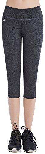 FITTIN Women's Yoga Capris Leggings Leggings with Pocket - Pants for Running Sports Fitness Workout Gym Large Dark Grey -