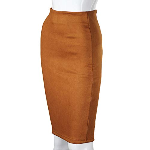 Super lucky shop-shirt Women Suede Solid Color Pencil Skirt Female High Waist Thick Stretchy Skirts,Camel Brown,L -