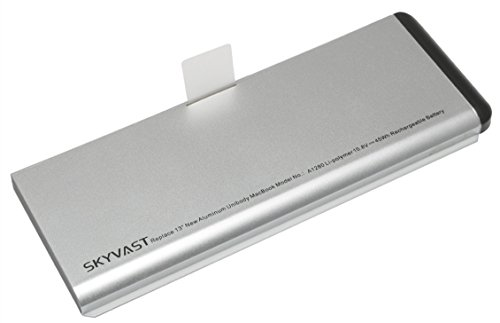 Price comparison product image Skyvast Long Life Silver Rechargeable Li-Polymer Battery for Apple MacBook 13-Inch A1280 A1278 (2008 Version) MB771LL/A MB467LL/A MB466LL/A [Rating: 10.8V 45Wh]