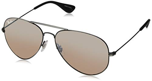 Ray-Ban RB3558 Aviator Sunglasses, Matte Black Antique/Purple Brown Gradient Mirror, 58 mm