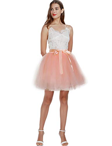Women's High Waist Princess Tulle Skirt Adult Dance Petticoat A-line Wedding Party Tutu Peach