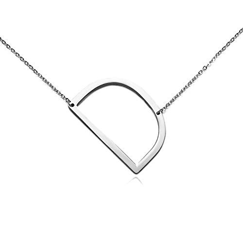 RINHOO Stainless Steel Gold Initial Alphabet 26 Letters Script Name Pendant Chain Necklace from A-Z (D, Stainless Steel Silver Initial Necklace) ()