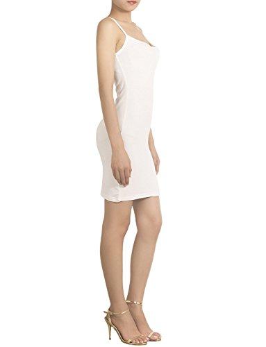 iB-iP Mujer Algodón Mezcla Florista Se Desliza Mini Vestido Amoldeado Al Cuerpo Blanco