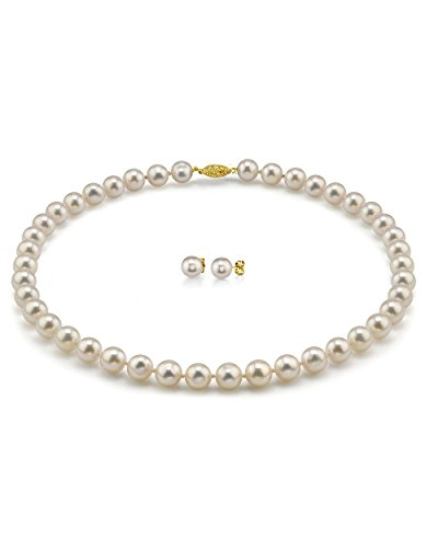 THE PEARL SOURCE 14K Gold 8-8.5mm Hanadama Quality Round White Akoya Cultured Pearl Necklace & Earrings Set in 18