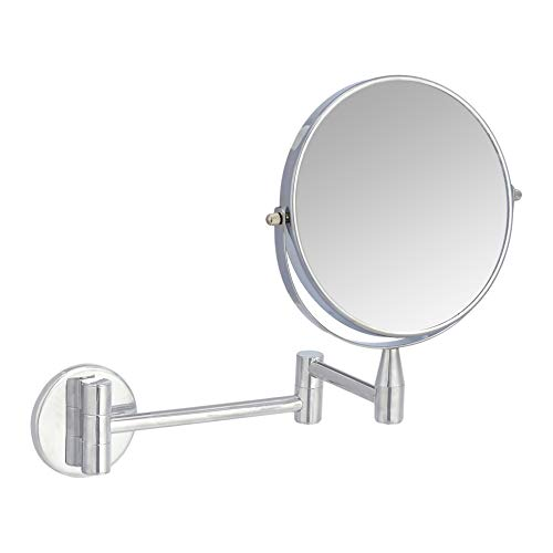 Amazon Basics Wall-Mounted Vanity Mirror – 1X/5X Magnification, Chrome