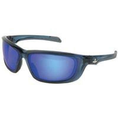 (U.S. Safety UD128BZ Protective Eyewear (1 Pair) USS Defense Military Ballistic Style, Boss Man Diamond Mirror Lens, Translucent Dark Blue Frame)