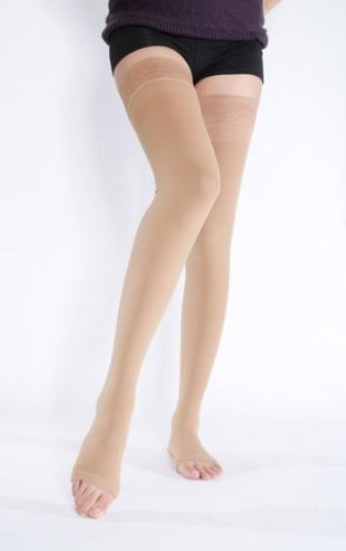 - BriteLeafs Opaque Thigh High Compression Stockings Firm Support 20-30 mmHg, Open Toe, Lace Top, Silicone Band - Gradient Compression (Medium, Beige)