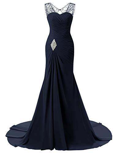 Formal Bridal Chiffon Prom Navy Bess Blue Mermaid Lace Evening Dress Beaded Women's up ZdB4WH0