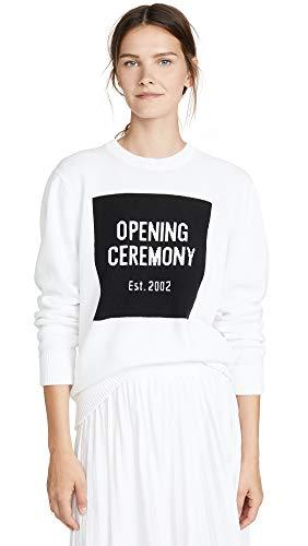 Opening Ceremony Women's Box Logo Crew Neck Sweater, White Multi, X-Small