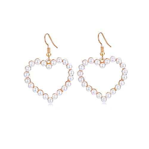- Rakumi Pearl Heart Earrings 4mm White Seashell Pearl Dangle Earrings