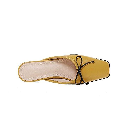 Donna in Baotou Donna Scarpe da Colore Bassi Testa Retro Casual Pantofole 34 Quadrata Air Spessi Scarpe Giallo Dimensioni Pelle Tacchi qAw6dO6