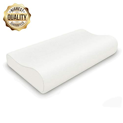 ESEOE Memory Foam Pillow, Cervical Pillows Orthopedic Neck Pain Pillows for Sleeping, Firm Side Sleeper Neck Stomach Contour Pillows Neck Support for Back Neck (Rice White)