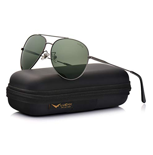 LUENX Mens Womens Aviator Sunglasses Polarized Non-Mirrored Grey Green Lens Gun Metal Frame UV400 ()