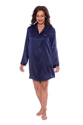 TexereSilk Women's Silk Sleep Shirt - Sleepwear Nightshirt by (Dreamfest, Gulf Blue, Medium) Luxury Night Shirts For Wife Fiancee Girlfriend WS0478-GFB-M