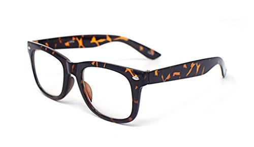 Tiger/Leopard Print Classic Style Multi Colour Clear lens Classic Frames Perfect for Costumes Parties Glasses Gift Nerds and - Nerd Print Leopard Glasses
