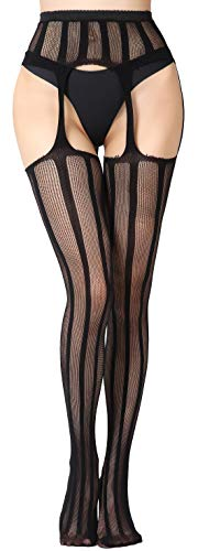 The victory of cupid Women's Lingerie Socks, Lace Top Garter Belt Thigh Stocking,Pantyhose Plus (one Size, black-1104) …