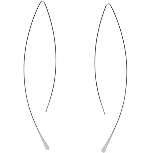 Humble Chic Curved Fish Hoops - Hypoallergenic Lightweight Upside Down Open Wire Needle Drop Dangle Threader Earrings, 925 White - 3