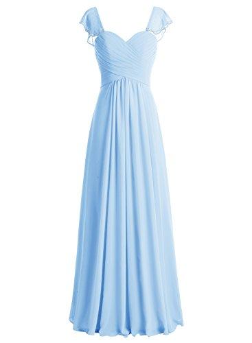 Bbonlinedress Vestido Mujer Largo De Gasa De Fiesta Noche Madrina Con Manga Corta Azul