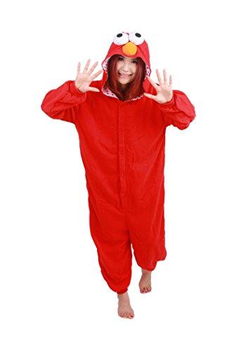 Unisex Fleece Adult Red Elmo Onesies Animal Cosplay
