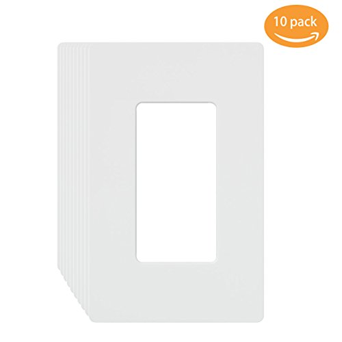 Wall Plates, 1-gang decora/gfci device wallplate Electrical Outlet Covers Standard Size, Screwless Receptacle Faceplates MICMI J58 (1 Gang Decorator, White 10pack) (Gang White Decorator)