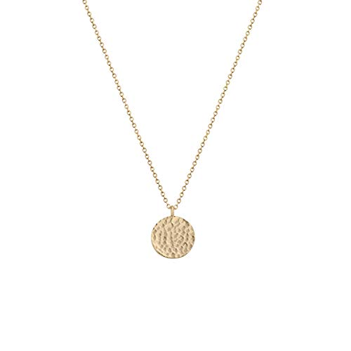 - Fettero Necklace for Women Dainty Handmade 14K Gold Fill Carved Full Round Moon Phase Pendant Wafer Chain Minimalist Jewelry