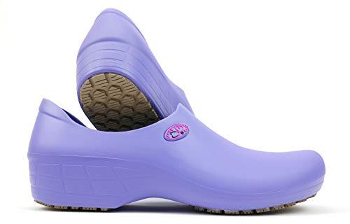SSW-LLA-P2B - Women's Cute Nursing Shoes - Waterproof Slip-Resistant - Keep Nursing (7, Lilac/Pink Stetho)
