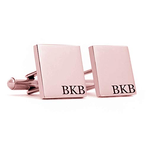 - Personalized Cufflinks for Men Rose Gold Plated Sterling Silver Custom Made with Any Letters