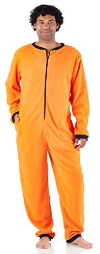Sleepyheads Men's Adult Non Footed Fleece Color Onesie Pajama Jumpsuit (SH2200-4030-2X), Orange W-Black Zipper, 2X Plus -