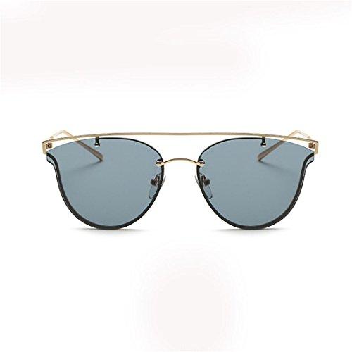 HANYI Fashion Cat Eye Sunglasses Metal Frame Classic Tone Mirror Sunglasses - Sunglasses Sails Black