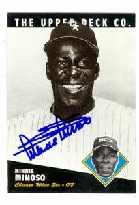 (Minnie Minoso autographed baseball card (Chicago White Sox) 1994 Upper Deck Heroes of Baseball #205)