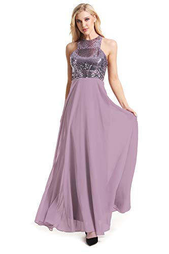 - Beauty Kai Women's Long Formal Sequin Chiffon Evening Prom Dress (Large, Mauve)