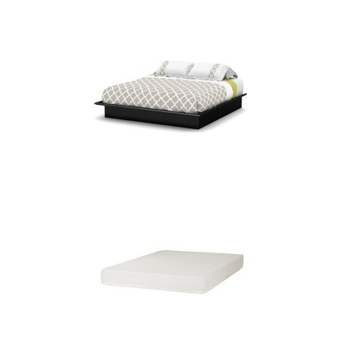 - South Shore Step One Full Platform Bed (54''), Pure Black, and Somea Full Mattress Included