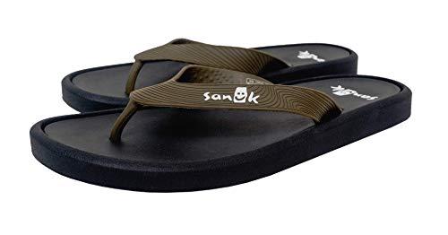 Sanuk Mens Sidewalker Flip-Flop Olive Green. 7 M ()