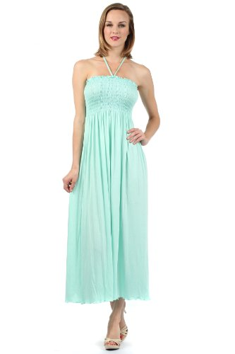 Sakkas 5026 Comfortable Jersey Feel Solid Color Smocked Bodice String Halter Maxi / Long Dress - Light Mint / Small