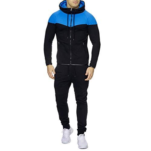 Sport Hommes Couleur Patchwork Roiper Pocket Zipper Ensembles Solide Bleu Pure Sweat Survêtement Pantalon Hiver Top Costume Automne qq0wzdr