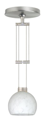 Besa Lighting 1XA-565819-SN 1X50W Gy6.35 Palla 5 Pendant with Carrera Glass, Satin Nickel Finish