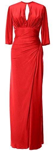 Femmes Macloth Jersey Moitié Manches Longues Mère De Robe De Soirée Formelle Robe De Mariée Rouge