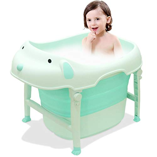 (VERNASSA Baby Folding Bathtub, Infant Collapsible Portable Shower Basin (Sky Blue))