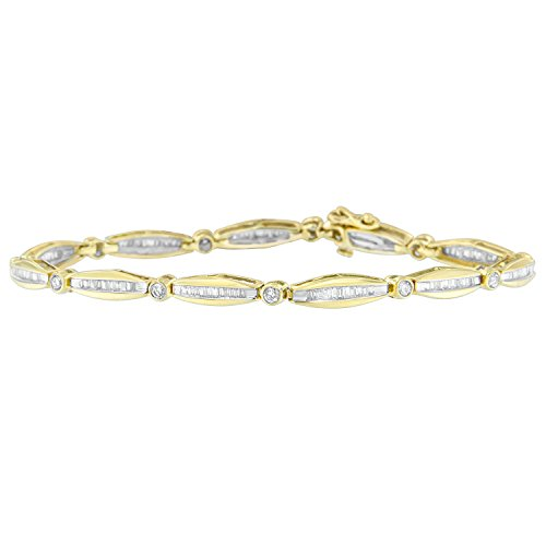 Original Classics 14K Yellow Gold Round and Baguette Cut Diamond Circle Link Bracelet (1.50 cttw, H-I Color, SI2-I1 Clarity)
