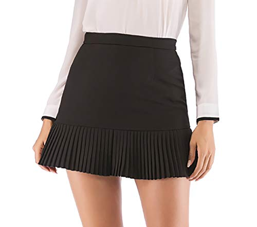 Hanlolo Women Laides Mini Skirts High Waist Flared Ruffle Hem School Party Skirt Black 12