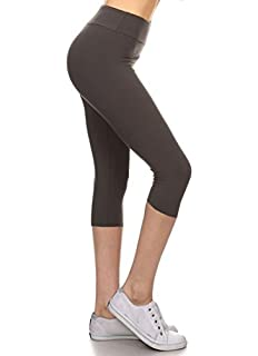 ac3bc44a0882d Leggings Depot Women's Yoga Gym High Waist reg/Plus Solid and Printed  Workout Capri Leggings