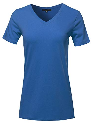 Basic Solid Premium Cotton Short Sleeve V-Neck T Shirt Tee Tops Sapphire S