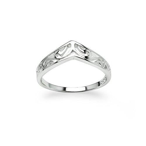 Filigree Ring Band - Chevron V-Shaped Victorian Filigree Ring New 925 Sterling Silver Band Sizes 9